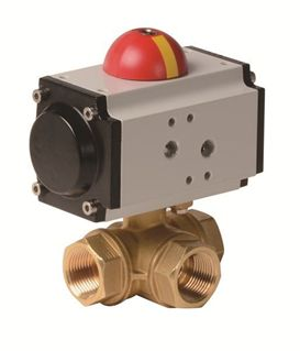 Picture for category Pneumatic Actuator with 3-Way Brass Ball Valve (PYHG  - AP Series)