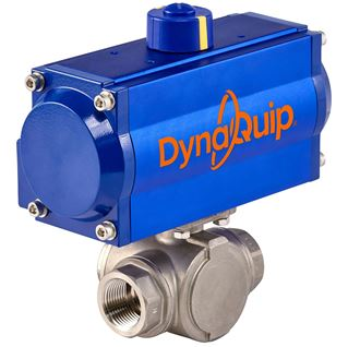 Picture for category PYSA SERIES - 3 WAY Stainless Steel Ball Valve - Pneumatic Actuator