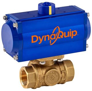 PYH SERIES - 3 WAY Brass Ball Valve - Pneumatic Actuator