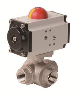 Pneumatic Actuator with 3-Way Stainless Steel Ball Valve (PYSA - AP Series)
