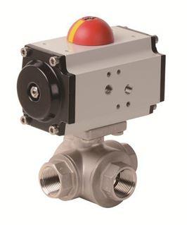 Pneumatic Actuator with 3-Way Stainless Steel Ball Valve (PYSA - AP Series)